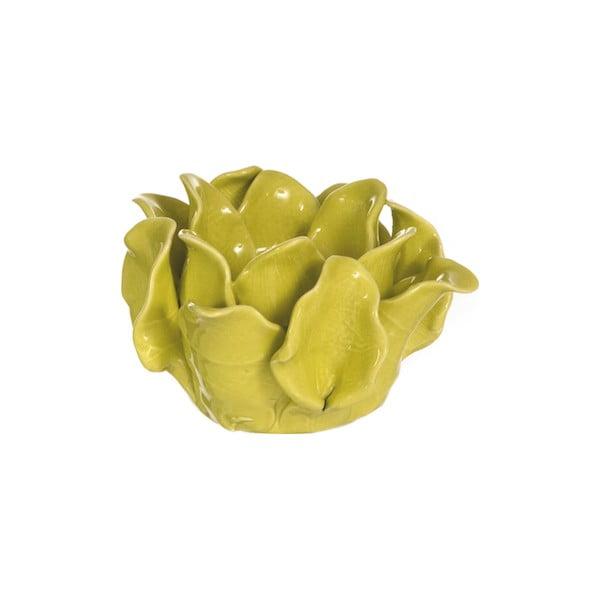 Keramický svícen Lotos, žlutozelený
