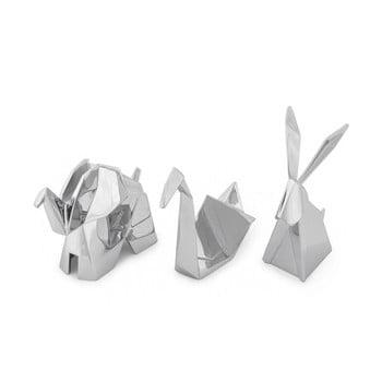 Set 3 suporturi pentru inele Umbra Origami, argintiu imagine