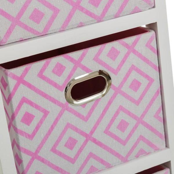 Poliță cu 3 sertare Unimasa Paulonia, 32 x 63 cm, roz