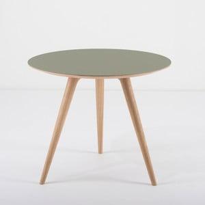 Příruční stolek z dubového dřeva se zelenou deskou Gazzda Arp, Ø55cm