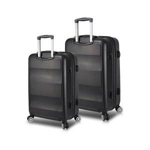 Sada 2 černých cestovních kufrů na kolečkách s USB porty My Valice LASSO Cabin & Medium