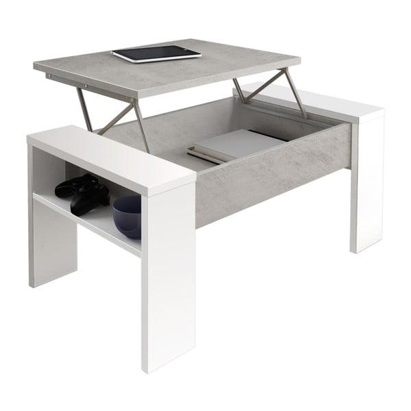 Szaro-biały stolik z miejscem do przechowywania Tomasucci James