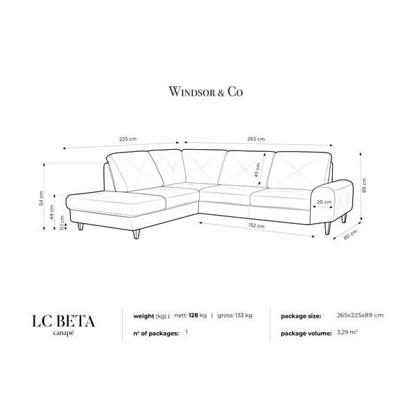 Černá rohová rozkládací pohovka Windsor & Co Sofas, levý roh Beta