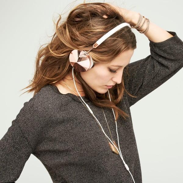 Bílá sluchátka s detaily v barvě růžového zlata Frends Taylor