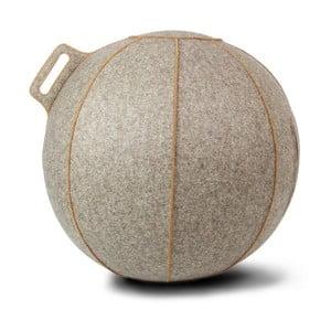 Béžovošedý žíhaný sedací míč s hnědými lemy a potahem z merino vlny VLUV Velt, Ø70- 75cm