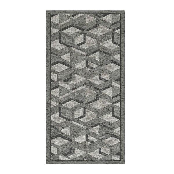 Šedo-černý běhoun Floorita Hypnotik, 55 x 240 cm