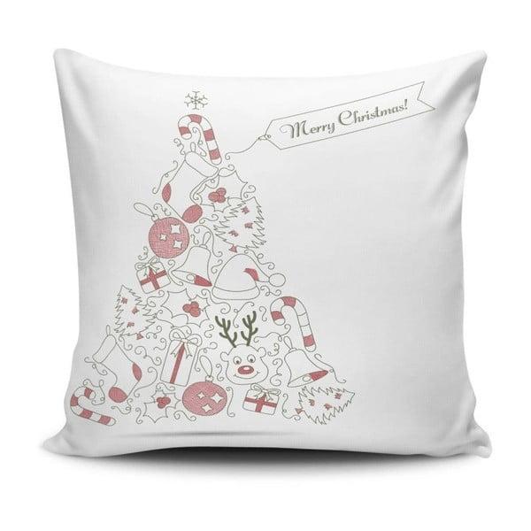 Bílý polštář Christmas,45x45cm
