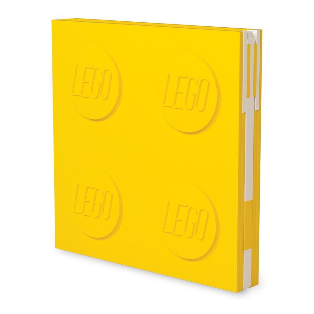 Žlutý čtvercový zápisník s připnutým gelovým perem LEGO®, 15,9 x 15,9 x 2,3 cm