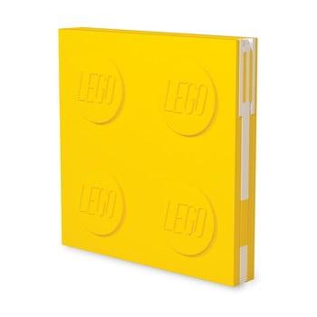 Jurnal pătrat cu pix cu gel LEGO®, 15,9 x 15,9 cm, galben imagine