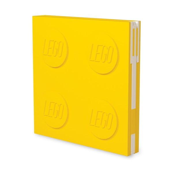 Jurnal pătrat cu pix cu gel LEGO®, 15,9 x 15,9 cm, galben