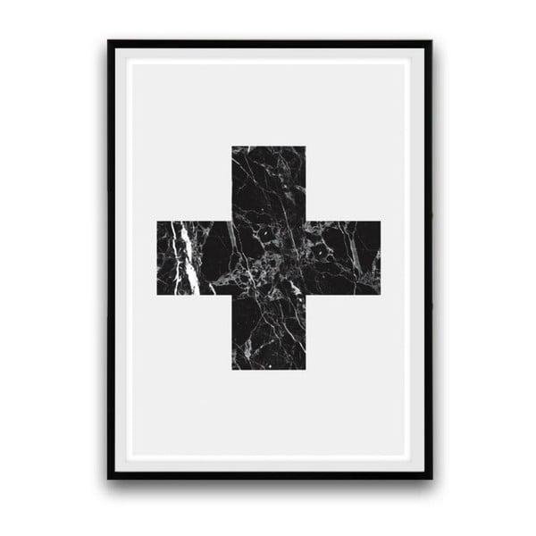 Plakát v dřevěném rámu Big cross, 38x28 cm
