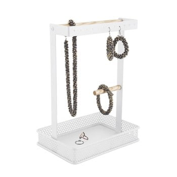 Suport pentru bijuterii cu detalii din lemn PT LIVING Merge Square, alb