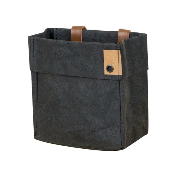 Coș de depozitare din hârtie lavabilă și piele Furniteam Home, negru