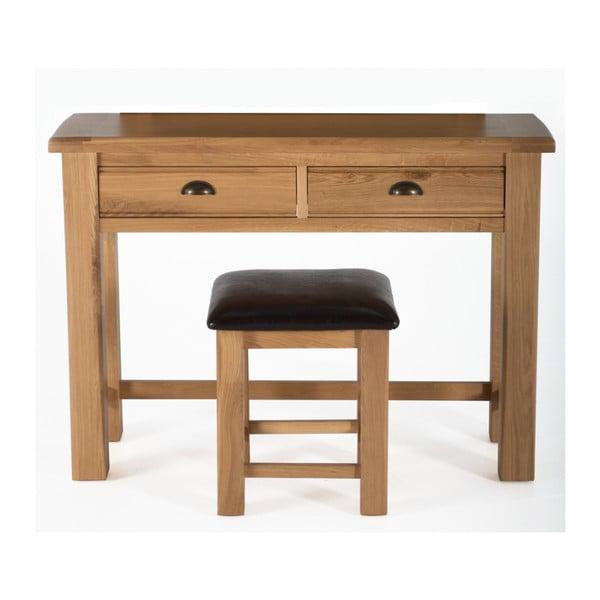 Toaletný stolík a stolička z dubového dreva VIDA Living Breeze