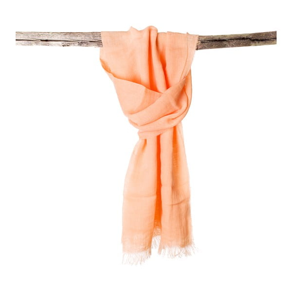 Lněný šátek Luxor 65x200 cm, oranžový