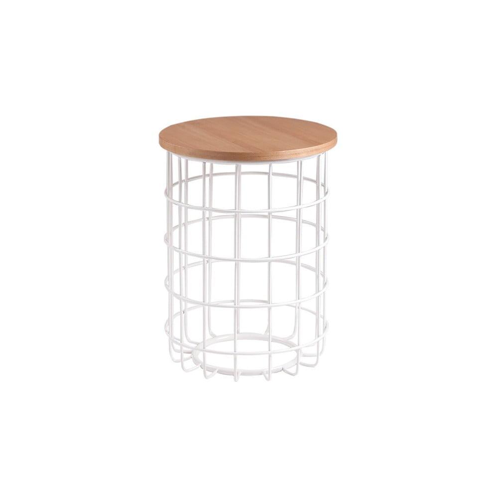 Bílý odkládací stolek s deskou v dekoru dubového dřeva sømcasa Elmo