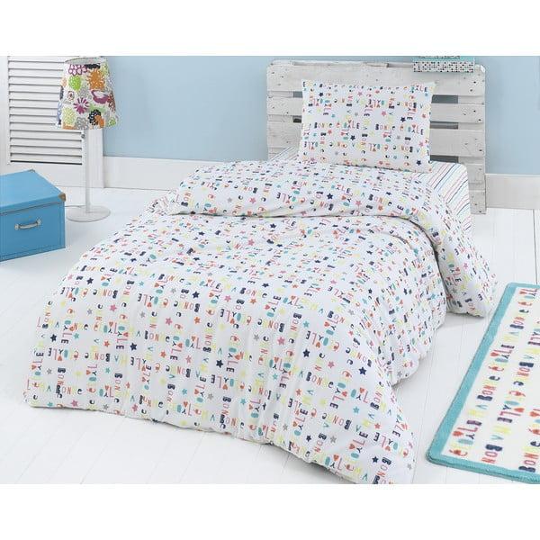 Set lenjerie de pat din bumbac ranforce cu cearșaf Hible, 160 x 220 cm