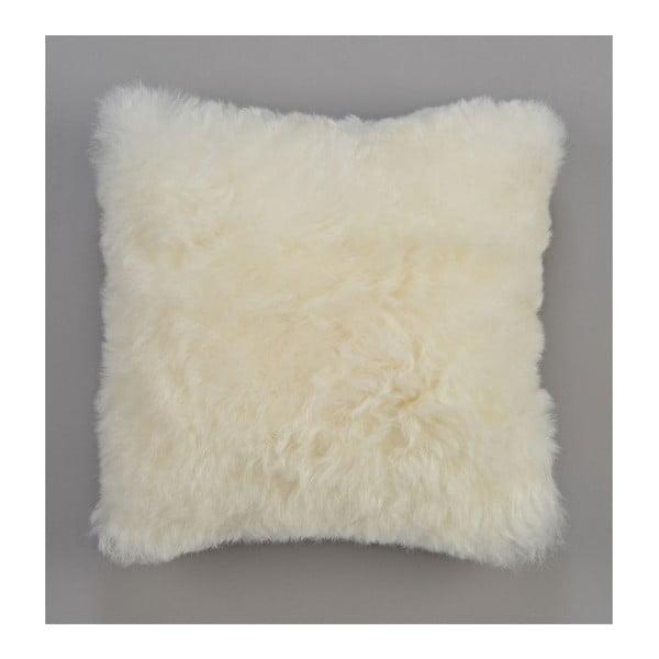 Oboustranný kožešinový polštář s krátkým chlupem White, 50x50 cm