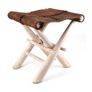 Dřevěná stolička s koženým sedátkem Moycor Goat
