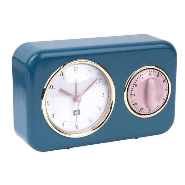 Modré kuchynské hodiny s minútkou PT LIVING Nostalgia