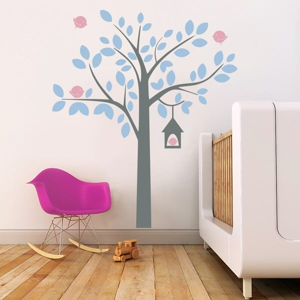 Samolepka na stěnu Strom a ptáčci, 2 archy, 70x50 cm