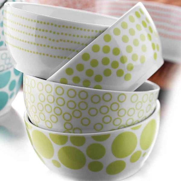 Sada 4 porcelánových misek Geometry, zelené