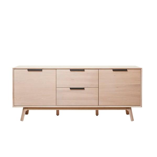 Vivara alacsony fehér tölgyfa komód, 2 ajtós - Unique Furniture