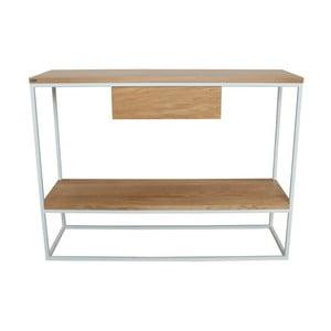 Bílý konzolový stolek s deskou z dubového dřeva Take Me HOME Lubin, 100x30cm