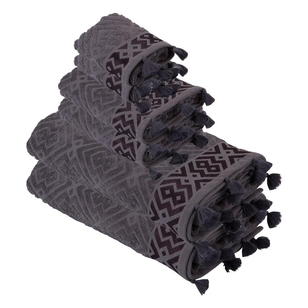 Sada 6 fialových bavlněných ručníků Bella Maison Mosaic Towel