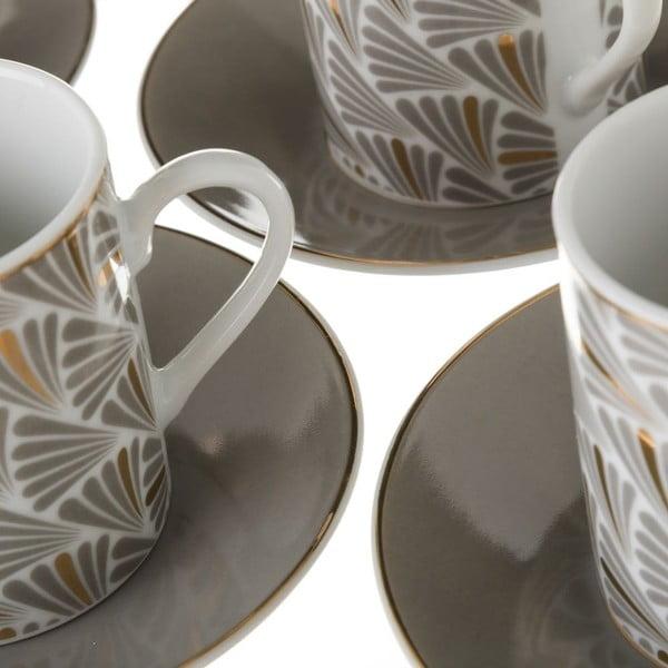Sada 6 šedých porcelánových hrnečků s podšálky Unimasa Belle, 100ml