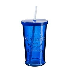 Sada 4 modrých sklenic s víčkem a brčkem SUMMER FUN II, 500ml