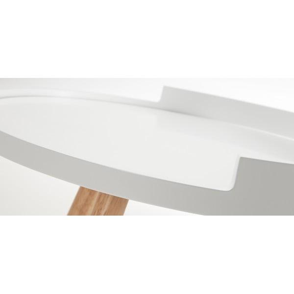 Măsuță auxiliară cu picioare din lemn La Forma Bruk, alb