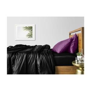 Sada 2 černo-fialových bavlněných povlečení na jednolůžko s černým prostěradlem COSAS Lago, 160 x 220 cm