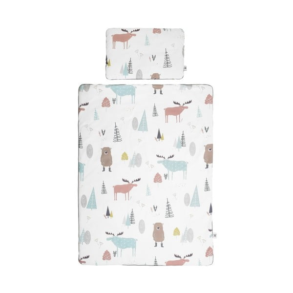 Set păturică matlasată din bumbac și pernă pentru copii BELLAMY In the Wood, 140 x 200 cm