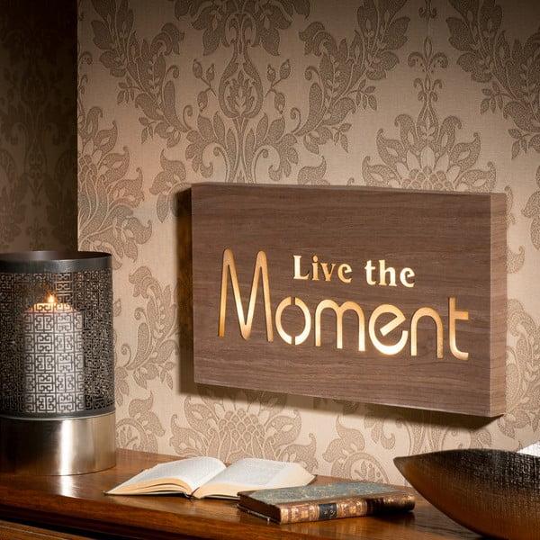 Obraz se svítícím nápisem Live The Moment, 42x24 cm