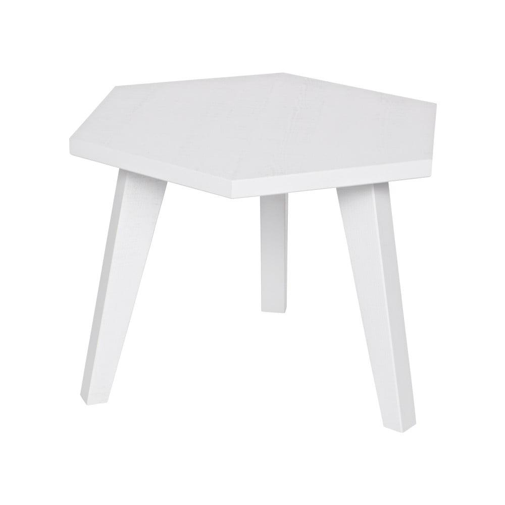 Bílý odkládací stolek z borovicového dřeva De Eekhoorn Hex