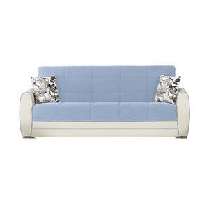 Canapea extensibilă de 3 persoane cu spaţiu de depozitare, Esidra Rest, albastru - crem
