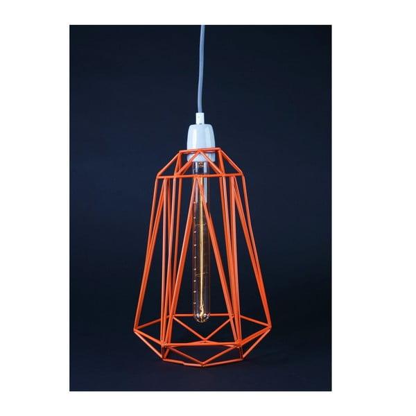 Světlo s oranžovým stínítkem a šedým kabelem Filament Style Diamond #3