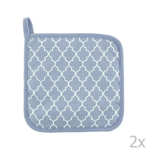 Komplet 2 jasnoniebieskich bawełnianych łapek Tiseco Home Studio Arabesk