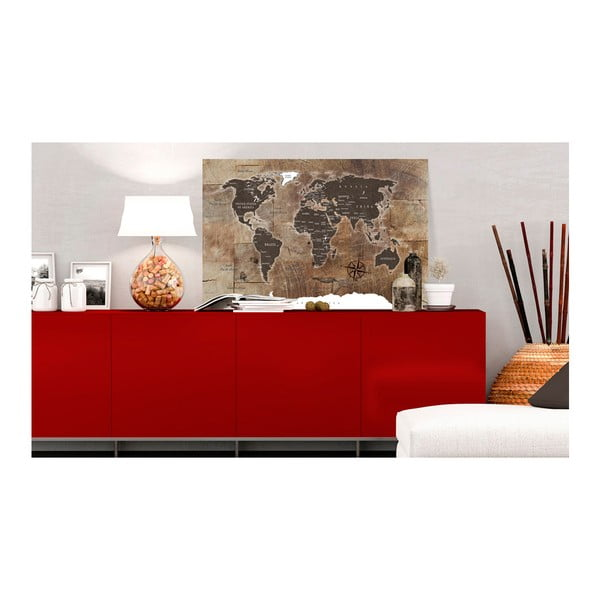 Nástěnka s mapou světa Bimago Wooden Mosaic, 120x80cm