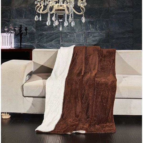 Hnědý oboustranný přehoz na postel DecoKing Lamby, 220 x 240 cm