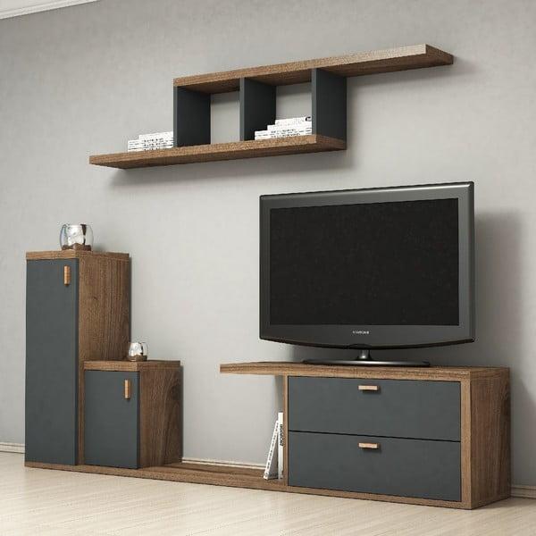 Set dřevěného TV stolku a police Bayro