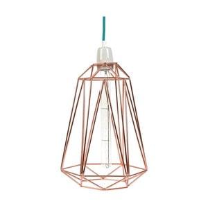 Světlo se stínítkem zlaté barvy a modrým kabelem Filament Style Diamond #3