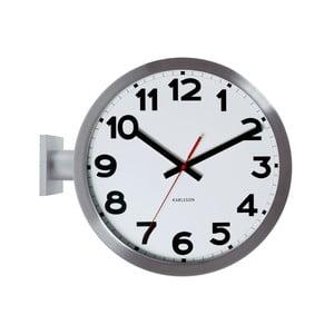 Ceas de perete cu două fețe Present Time, alb