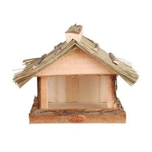 Dřevěné krmítko s doškovou střechou Esschert Design, výška22,8cm