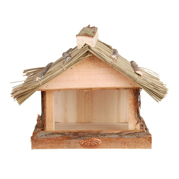 Drevené kŕmidlo so slamenou strechou Esschert Design, výška 22,8 cm
