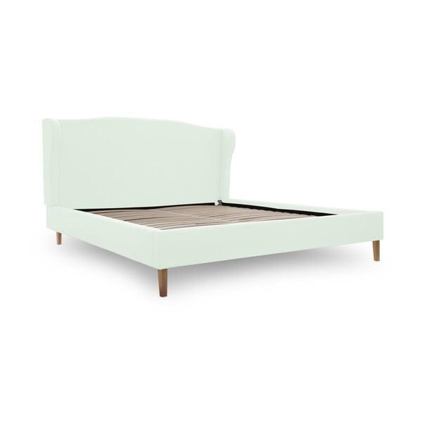 Pastelově zelená postel s přírodními nohami Vivonita Windsor,160x200cm