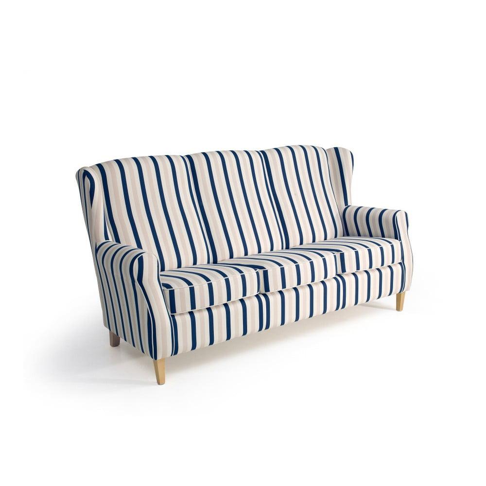 Modrobílá trojmístná pruhovaná pohovka Max Winzer Lorris