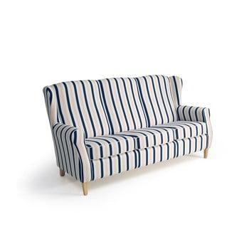 Canapea în dungi 3 locuri Max Winzer Lorris albastru-alb
