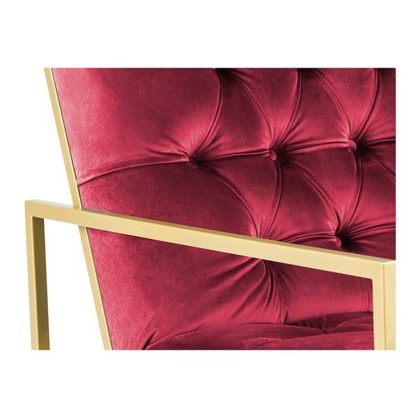 Růžové křeslo s konstrukcí ve zlaté barvě Mazzini Sofas Bono
